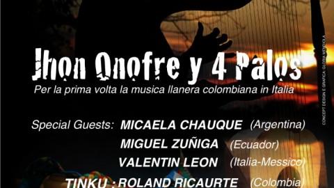 Jhon Onofre y 4 Palos concerto. Rassegna DE SUR A NORTE